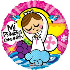 PRIMERA COMUNION NENA Baptism Cookies, First Communion Invitations, Catholic Crafts, Tin Art, Bottle Cap Images, Cute Illustration, Print And Cut, Stone Painting, Felt Crafts