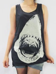 SHARK Attack Jaws Head Animal Shirt Animal Tank Top Women Vest Shirt Animal Tunic Top Animal Singlet Animal Sleeveless Black Shirt Size M