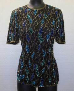 Gorgeous Women's SCALA Silk Beaded Sequined Formal Evening Cocktail Top Blouse #Scala #Blouse #EveningOccasion