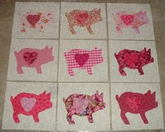 9 Pink Chubby Pigs with Hearts Quilt Top Blocks, $15.95