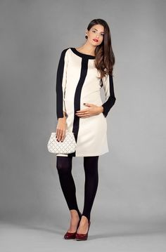 Madrid dress  Jersey Cream & black long sleeves by LaRobeBleue, $99.00