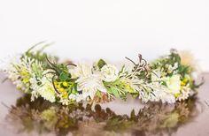 Spring Flower Crown - Greenrty Flower Halo - Flowergirl hairpiece - Summer Wedding - Newborn Photo Prop - Wedding Crown - Floral Hairpiece by LittleLadyAccessory on Etsy