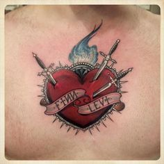 25126949 burning heart with arrow and ribbon tattoo style stock