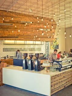 Lighting System Design for increasing the Cafe Performance : Extravagant Verve Pacific Ave Design Interior With Bulb Lamps