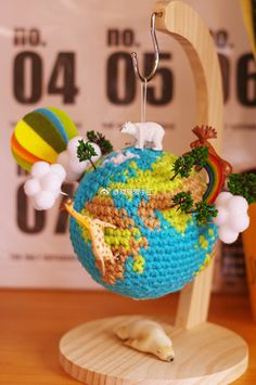 Ravelry: 地球 pattern by utasouko Crochet Home, Crochet Gifts, Crochet Baby, Free Crochet, Knit Crochet, Crochet Tools, Crochet Projects, Amigurumi Doll, Amigurumi Patterns