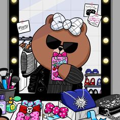 "CHOCO on Instagram: "" Obsessed with this cool&chic look! Thx @NYLONKOREA ! #nylonkorea #septemberissue #나일론코리아 #나일론9월호 #ootd #CHOCO #selfie at #powderroom…"" Line Cony, Cartoon Town, Cony Brown, Brown Bear, Bear Images, Mermaid Glitter, Unicorns And Mermaids, Friends Wallpaper, Cute Patterns Wallpaper"