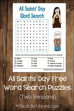 Free Printable All Saints' Day Word Searches {Available in Two Versions}