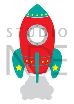 Sello digital espacio cohete nave espacial arte de por StudioNDE