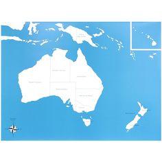 Lámina de control con el mapa de Australia con los nombres de los países en inglés. Este material de lametodología Montessori,es perfecto para que los niños aprendan los nombres de los diferentes países,así como la forma que tienen y la ubicación donde se encuentran. Ideal para usar junto con el puzle de madera de Australia, que se vende por separado. Edad recomendada: a partir de 3 años. Medidas:  Largo: 53,5 cm. Ancho: 41 cm.
