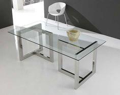Mesa de cristal y acero inox en T   Acero Inox y Cristal. Tubo de acero inox de 8x4 cms. Cristal de 10 mm. no templado.... Desde Eur:1006 / $1337.98