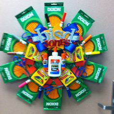 This is a great idea for all of you public school mommies...great teacher gift.  School Supplies Wreath