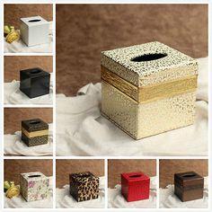 Colored Square PU Leather Tissue Box Cover Napkin Holder Home Decor 12*12*12CM