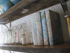Vintage maps...great idea for book covers.