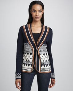 Jacquard Scroll Jacket  by Carmen by Carmen Marc Valvo at Neiman Marcus.