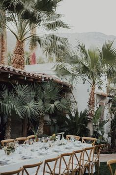 Tropical Palm Springs wedding with classic long white tables California Wedding Venues, Unique Wedding Venues, Wedding Locations, Wedding Trends, Unique Weddings, Tropical Weddings, Wedding Ideas, Rustic Wedding, Palm Wedding