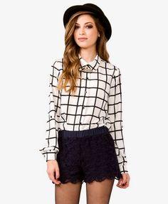 Grid Pattern Georgette Shirt