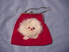 Vintage 1960's Red Velvet Rabbit Fur Cat Face Child's Purse Mismatched Eyes