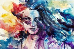 Agnes cecile - intense emotional rainbow color painting gay rights woman girl watercolor portrait painting art. Watercolor Portrait Painting, Watercolor Art Landscape, Watercolor Art Face, Watercolor Art Lessons, Painting Art, Watercolor Paper, Painting People, Plan Image, Agnes Cecile