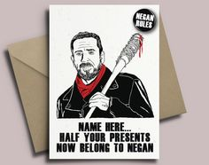 11 best the walking dead cards and stickers images on pinterest the walking dead negan personalised birthday card with badge option m4hsunfo