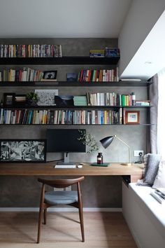 Working desk open bookshelves, delicated Frenchy loft | studio flat - MØFT STUDIO Loft, ideas, home, house, apartment, decor, decoration, indoor, interior, modern, room, studio.