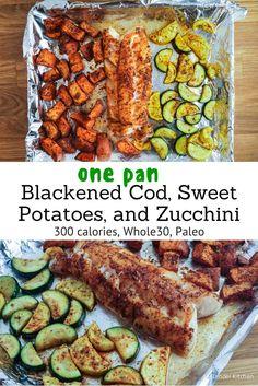 One Pan Blackened Cod, Sweet Potatoes, and Zucchini - Slender Kitchen