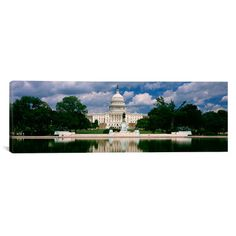 "East Urban Home Panoramic 'Capitol Building, Washington D.C' Photographic Print on Canvas Size: 30"" H x 90"" W x 1.5"" D"