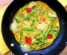 frittata. With spring veggies....    I'd use eggbeaters if watching my cholesterol