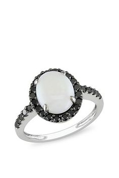 Opal and Black Diamond Ring