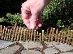 Save your prunings so you can make awesome little twig fences for your fairy garden, and other garden ideas