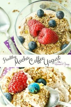 10 Most Misleading Foods That We Imagined Were Being Nutritious! Healthy Mocha Coffee Yogurt Is The Perfect Way To Start Your Day. Yogurt Recipes, Waffle Recipes, Brunch Recipes, Sweet Recipes, Whole Food Recipes, Snack Recipes, Brunch Ideas, Healthy Recipes, Brunch Dishes