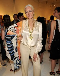 Yes, grey is beauitful and Carmen Dell'Orefice is stunning!