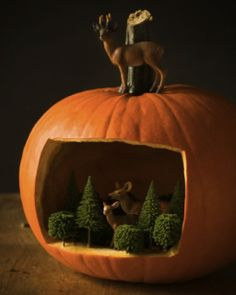 Sweet Paul's Diorama in a Pumpkin is a chic way to decorate for Halloween and Autumn!