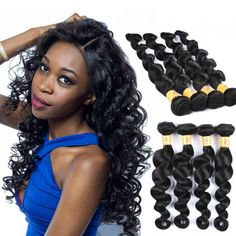 Marchqueen Brazilian Loose Deep Wave Hair Weave Unprocessed Hair 4 Bundle Deals Natural  Black Color 1b#