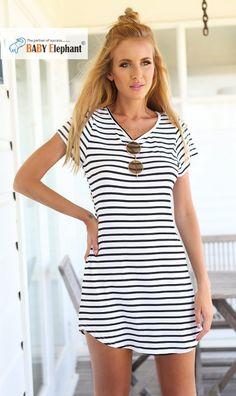 Round Collar Stripe Cocktail Short Sleeve Dress