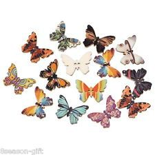 100PCs Wooden Buttons Butterfly Shape Mixed Color 2-hole Sewing Scrapbook DIY