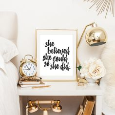 She Believed She Could So She Did   Downloadable Print   Instant Download   Gallery Wall   Printable