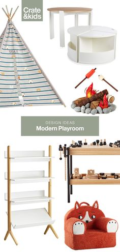 Whether you have an entire basement to dedicate to a playroom, or the corner of your family room, you may want to consider creating zones within the space to organize the design. Being thoughtful with the floor plan from the start will help with organizat Playroom Layout, Modern Playroom, Playroom Ideas, Toy Rooms, Kid Spaces, Kids Bedroom, Girl Bedrooms, Bedroom Bed, Family Room