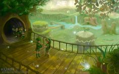 Saria and Young Link before he leaves the Kokiri forest - The Legend of Zelda: Ocarina of Time