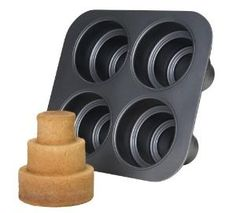 Chicago Metallic Multi Tier Cake Pan 4 Cavity, 11.2-Inch by 10.03-Inch by 15-Inch