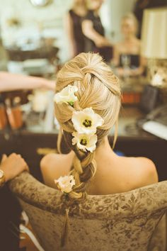 French plait with fresh flowers