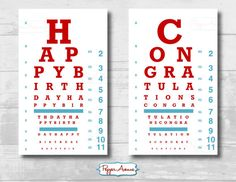 Doctor or Nurse Party Eye Chart - Birthday or Graduation Party Fun!!