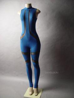Black Sheer Mesh Blue Turtleneck Pant Women Unitard Bodysuit 20 mv Catsuit S M L