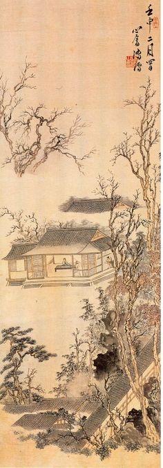 山水四條屏4 Mountain landscape by 溥心畬Pu Hsin-yu(1896-1963)