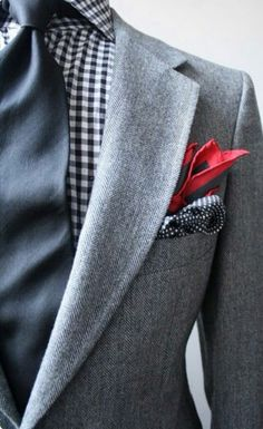 Suit-Gingham-Dots- Pocket Square Herringbone