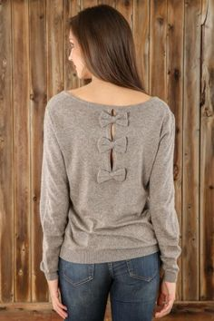 Bow Your Style Sweater-Mocha