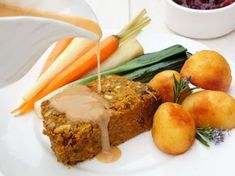 An easy vegan and gluten-free nut roast that's kept nice and moist with lentils and grated carrot.
