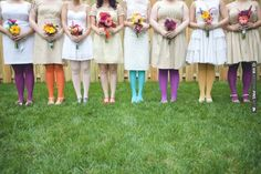 multi-coloured tights! | CHECK OUT MORE IDEAS AT WEDDINGPINS.NET | #weddings #bridesmaids #bridal #dresses #fashion #forweddings