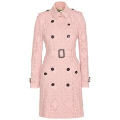 Burberry London Kensington Lace Trench Coat found on Polyvore featuring outerwear, coats, jackets, pink, lace coat, pink trench coat, light pink coat, burberry and burberry trenchcoat
