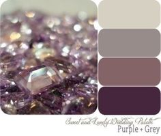 Master bedroom colors - grey walls, antique purple quilt, plum, silver and glass accents!