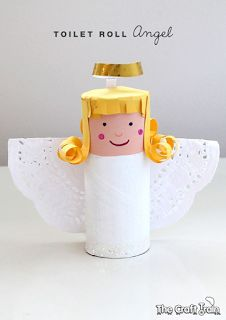 Toilet roll angel kids Christmas craft - could make a whole Nativity scene using the same techniques! Kids Crafts, Christmas Crafts For Kids, Christmas Activities, Holiday Crafts, Diy And Crafts, Christmas Decorations, Birthday Decorations, Upcycled Crafts, Christmas Angels